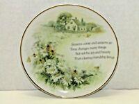 Vintage Lasting Memories Porcelain Floral Gold Trim Friendship Decorative Plate