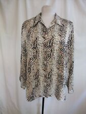 Ladies Blouse Fosby UK 14, EUR 40, brown/beige animal print polyester 0483