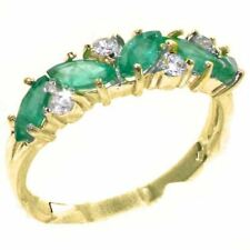 9ct Yellow Gold Natural Emerald & Diamond Womens Eternity Ring - Sizes J to Z