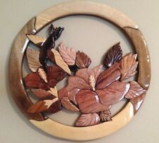 HUMMINGBIRD HIBISCUS HANDCRAFTED INTARSIA WOOD ART WALL HANGING PLAQUE -NEW-D199