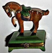 LIMOGES BOX - ROCHARD - TANG DYNASTY HORSE - CHINESE ART - ASIAN SCULPTURE