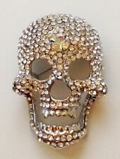 LARGE SILVER CRYSTAL SKULL BROOCH CLEAR STONES / GOTH PUNK HALLOWEEN PARTY PIN