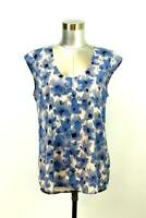 J CREW Blue Pink FLORAL CAP SLEEVE Blouse Shirt Top Scoop Neck Modern SMALL 6