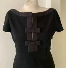 Valentino Couture Black Dress W/ Bow Detail Sz US 10 Italy
