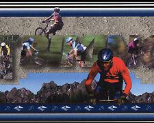 Biking Mountain Sports MT Realistic Vintage Blue Boys  Wallpaper Wall Border
