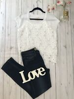 Tina Jo Anthropologie Size L 14 16 white crochet knitted vest top lace vgc cream