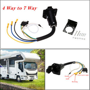 4-Way Flat to 7 Way Round RV Wiring Adapter Plug Hitch W/ Bracket for Trailer