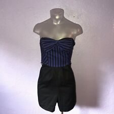 Anthropologie MAEVE Blue & Black Striped Strapless Romper 0 Cute