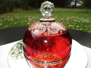 EAPG RUBY GLASS BUTTER DISH LID RICHMOND BEVILED BUTTONS