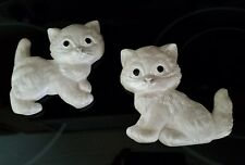 2~Vintage 1992 Miller Studios CHALKWARE Kitten Cats Pearl White Wall Plaques