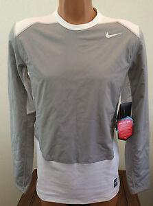 Mens Size Medium M Gray White Nike Pro Combat Hyperwarm Fitted Shirt Base Layer