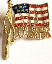 Usa Flag American Pin Brooch Patriotic God Bless America Crystal Us Seller