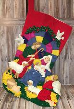 """Bucilla NATIVITY Jumbo Completed Finished 28"""" Felt Christmas Stocking"""