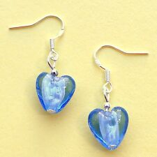 Love Heart Earrings with Sterling Silver Hooks New Blue Glass Drops LB1098