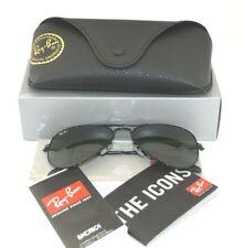 Ray-Ban RB3025 Aviator Classic Sunglasses Black Frame/ Green Classic Glass Lens