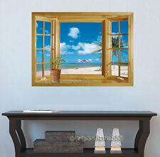 3D Window Exotic Beach Sea View Wall Stickers Art Decals Mural Wallpaper Decor