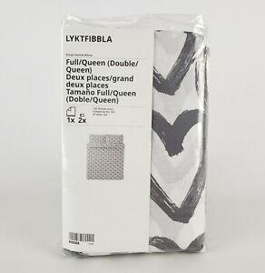 Ikea Lyktfibble Full/Queen Duvet Cover & 2 Pillowcases White/Gray Hearts New