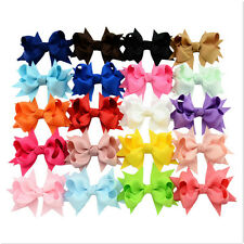 20Pcs Baby Kids  Girl Bow Ribbon Alligator Hair Clip Hairpin Accessories NiceSP