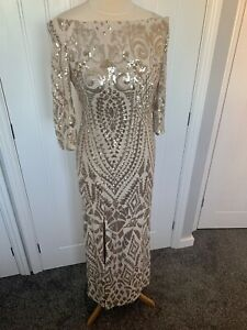 Gold Sequin Sleeved Maxi Long Dress Gown Quiz Sz 12 Evening Gatsby deco 1920's
