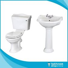 Traditional Toilet & Basin Sink Bathroom Suite Cistern With Soft Close Seat