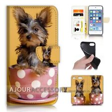 ( For iPod Touch 6 ) Wallet Flip Case Cover AJ40250 Cute Dog