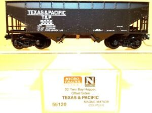 N Micro-Trains MTL 55120 Tex&Pacific 33' TwinBay w/Offset Sides Hopper 9006 LNIB