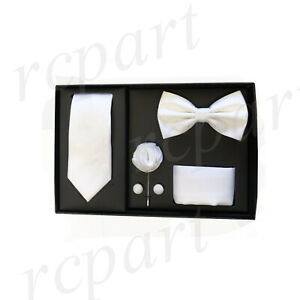 New formal Men's lapel pin skinny necktie hankie cufflinks bowtie gift set White