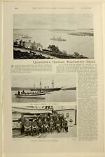1898 PRINT QUEENSTOWN HARBOUR HAULBOWLINE ISLAND CAPTAIN LANGDON & OFFICERS