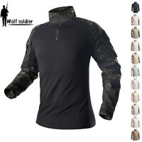 Mens Tactical Military T-Shirts Army Combat Long Sleeve Casual Shirts Camouflage