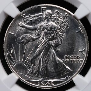 1942 D WALKING LIBERTY HALF DOLLAR NGC MS 63 HARD WHITE LUSTER EXCELLENT BLOOM