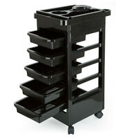 Salon Hairdresser Barber Beauty Storage Trolley 5 Drawers Coloring Cart Spa Tray