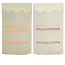 Peach Pink Room Decor Velvet Flowers Sheer Window Curtain Drapes Panels 60x90""