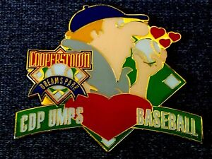 "CDP UMPS BASEBALL(COOPERSTOWN DREAM PARK)LITTLE LEAGUE 2"" WIDE TRADING PIN. NIP"