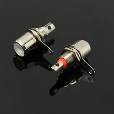 2pcs Red&White Metal RCA Phono Chassis Panel Female Jack Mount Socket Connectors