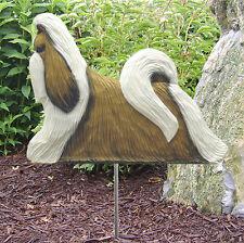 Shih Tzu Outdoor Garden Dog Sign Hand Painted Figure Gold/White