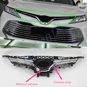 For Toyota Camry L LE XLE 2018 Chrome Front Grille Grill Without Camera Hole c