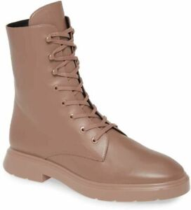 Stuart Weitzman Women's McKenzee Lace-Up Combat Boot Size 9 Taupe Leather