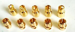 8mm Bullet Battery Gold-Plated Connectors, Male & Feale 10pcs/5 Sets for RC