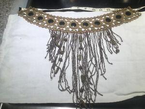 Antique Victorian ? HandMade Crochet dress applique Glass Beads w/Fringe