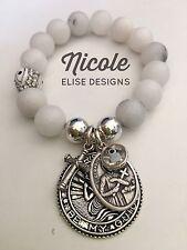 White marble bracelet 12mm St Gerard Crystal Eye cross & Black Evil Eye mothers