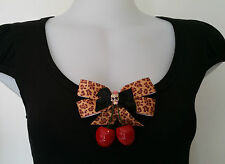 Rockabilly Pinup 1950s Scoop Neck Tee Diamonte Skull Cherry Leopard Bow size M