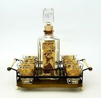 Vintage Whiskey Decanter Barware Set with 6 Glasses & Carrier Caddy Gold Accents
