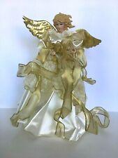 "Christmas Tree Topper Angel Gold Ribbon White Dress 14"" Religious Decoration"