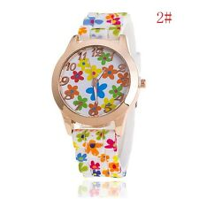 Women Girl Watch Silicone Printed Flower Causal Quartz WristWatches