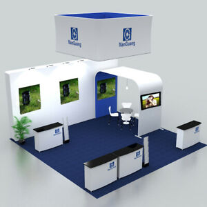 20ft custom trade show display pop up booth Sets with counters TV support Lights
