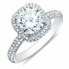 2.04 Ct. Cushion Cut Micro Pave Halo Round Diamond Engagement Ring H, VS1 14k