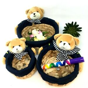 Wicker Basket Hamper Fabric Handmade Bear of 3 Wicker Gift Christmas Package