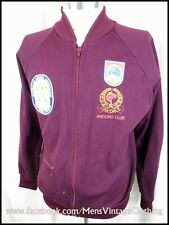Vintage 70s Burgundy Nylon Cotton Zip-Up Training Jacket Angler Patches 38 Indie