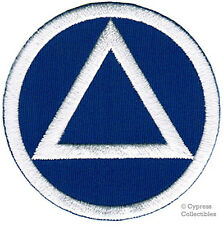 ALCOHOLICS ANONYMOUS iron-on EMBROIDERED PATCH AA BLUE WHITE applique SOBRIETY