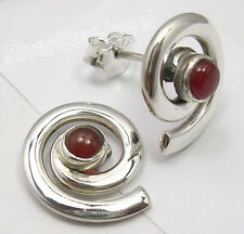 """Natural CARNELIAN Stone, 925 Solid Silver SPIRAL STUDS POST ART Earrings 0.6"""""""